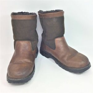 Ugg Leather Boots Brown Sherpa Lined 10